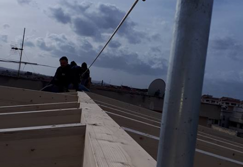 Ligne de vie horizontale sur bois